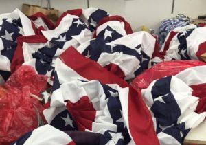 pile of US flags